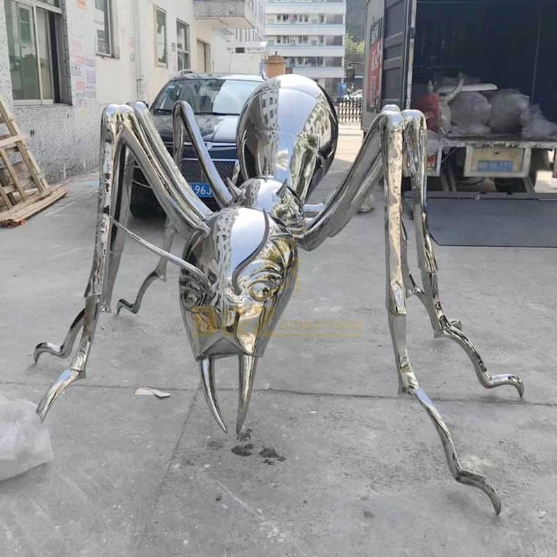 Large size stainless steel ants sculpture