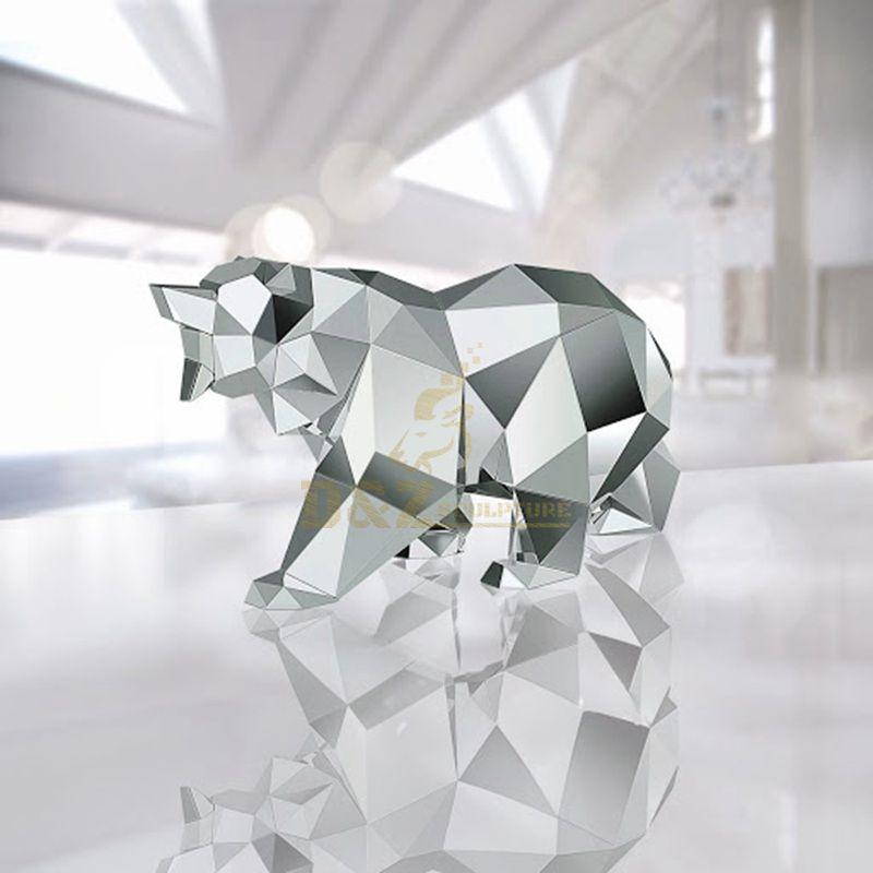 Stainless steel metal outdoor polar bear sculpture