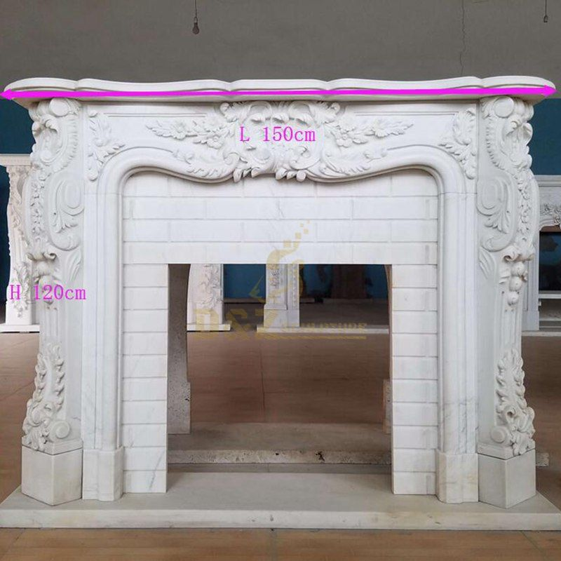 Decorative Natural White Marble Fireplace Surround