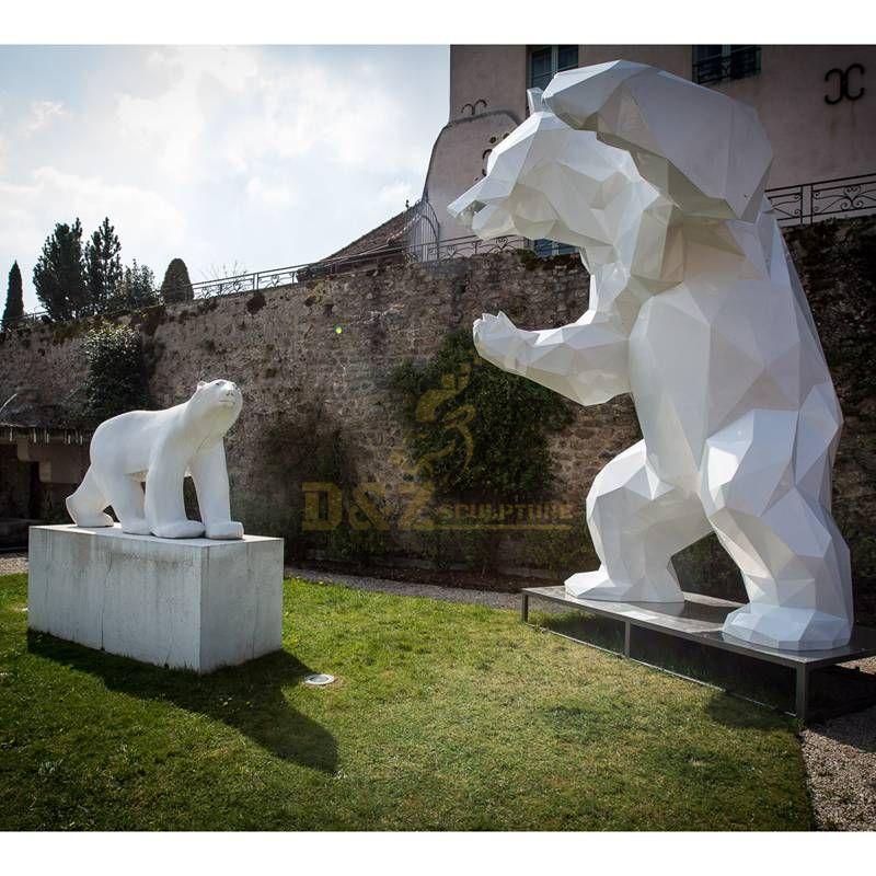 Stainless steel polar bear garden decorative sculpture