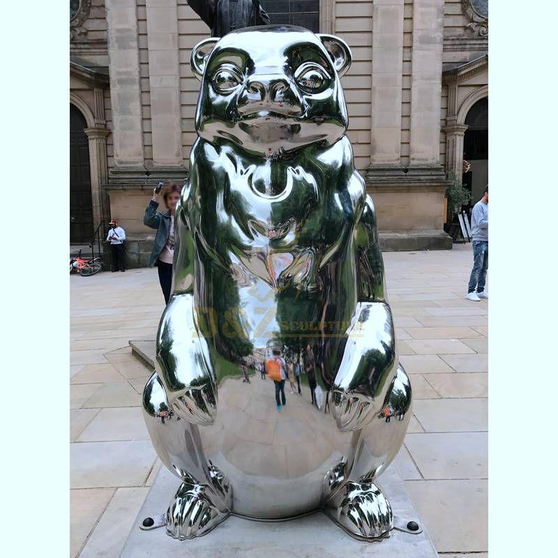 Large mirror stainless steel outdoor animal sculpture