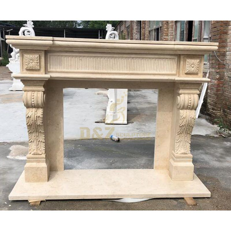 Marble Carving Mantelpiece Factory Direct Selling Natural Marble Yellow Marble Fireplace