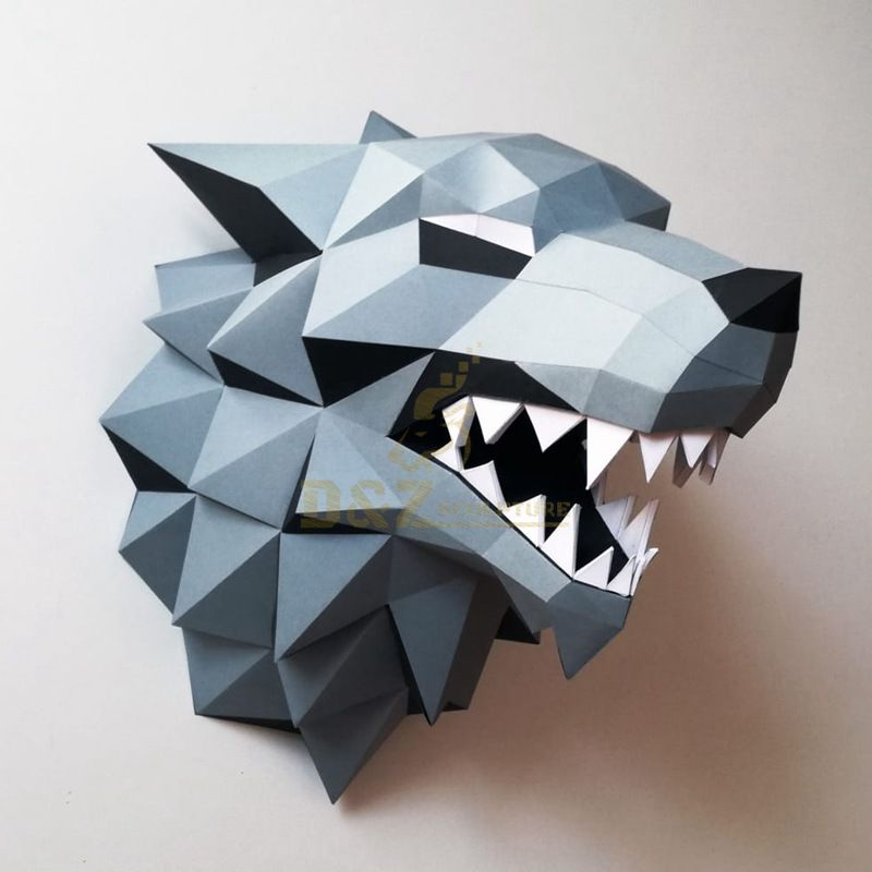 Stainless steel wolf head sculpture