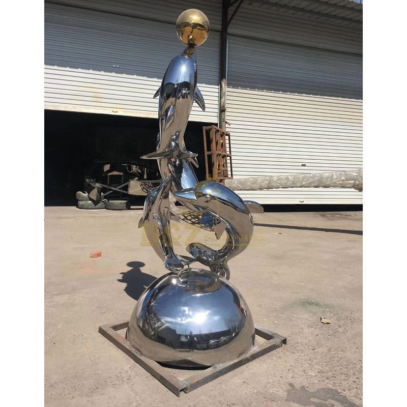 Hot sales dolphin ball stainless steel sculpture