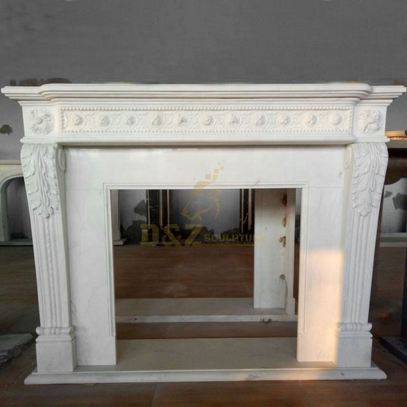European Popular Style Natural White Marble Stone Fireplace Indoor Decoration With Simple Style