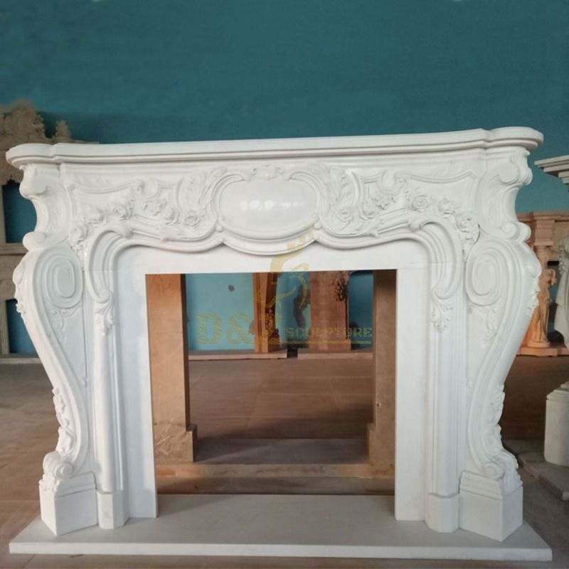 Customized Classic Natural Stone Marble Decorative Fireplace