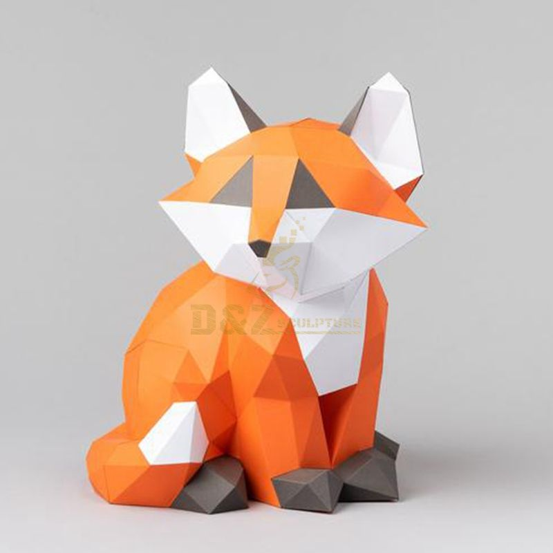 Stainless steel metal mosaic fox sculpture