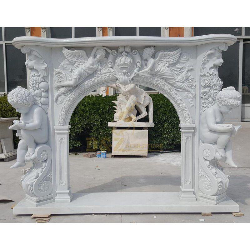 Large European Style Boy Statue Stone Figure Fireplace Surround