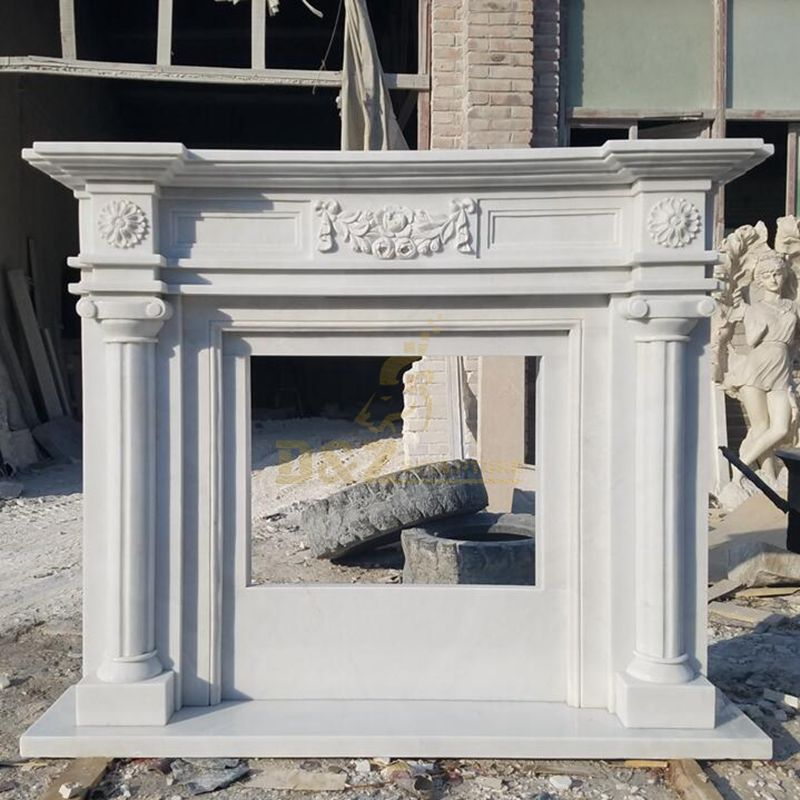 Indoor Use Fireplace Mantle Of Natural Stone Marble Fireplace