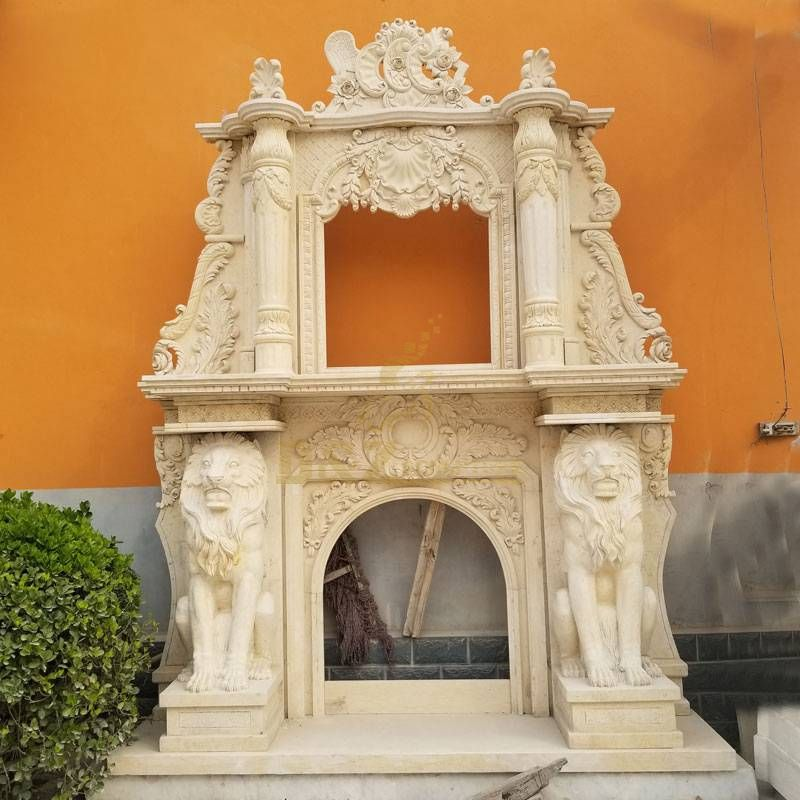 Natural Yellow Stone Carving Marble English Style Fireplace