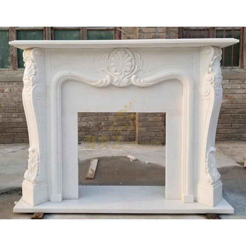 Decorative White Hand Carve Stone Natural Marble Fireplace