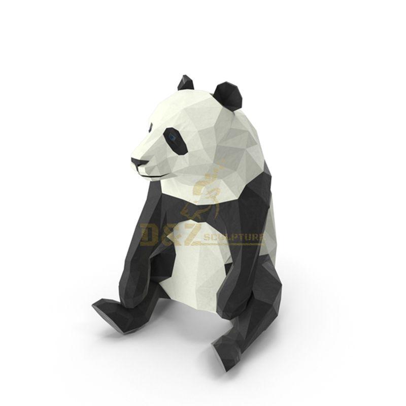 Stainless steel panda sculpture metal landscape