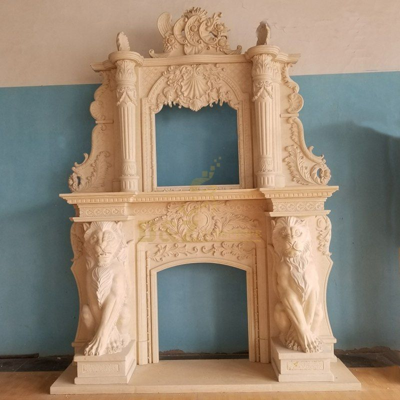 Indoor Nude Woman Marble Natural Stone Freestanding Fireplace Mantel Surround With Animals