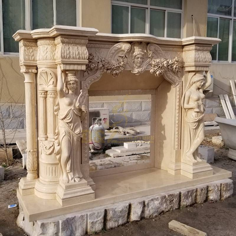 European Fireplace With Woman Character