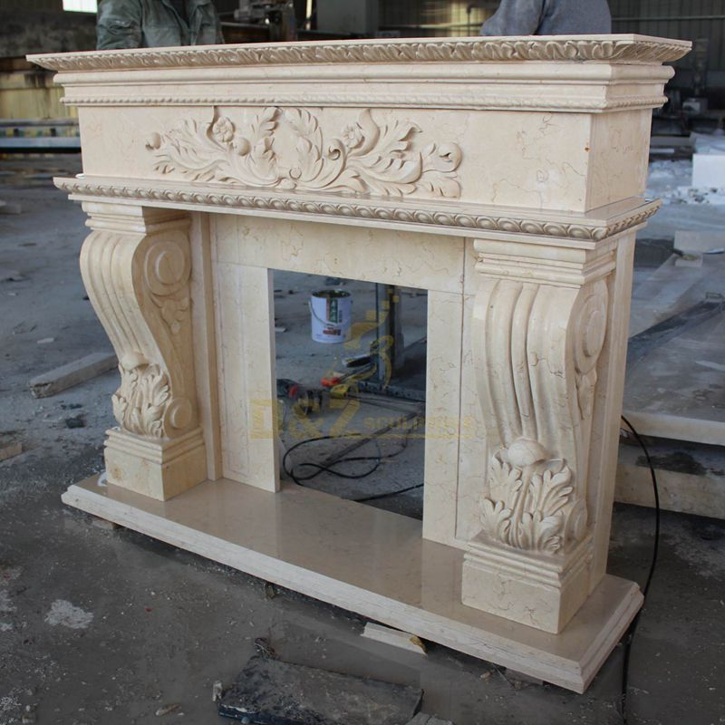 Beautiful Indoor Antique Marble Stone Fireplace
