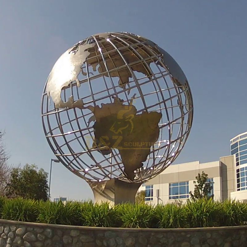 Stainless Steel Globe Earth Sculpture