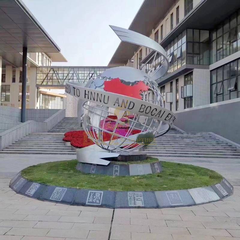 Stainless steel world globe sculpture