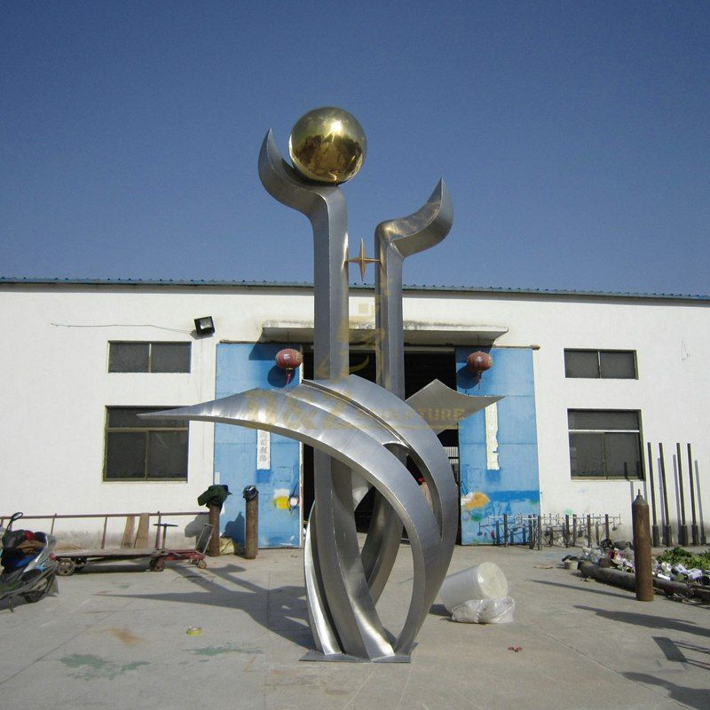Stainless steel flower ball sculpture