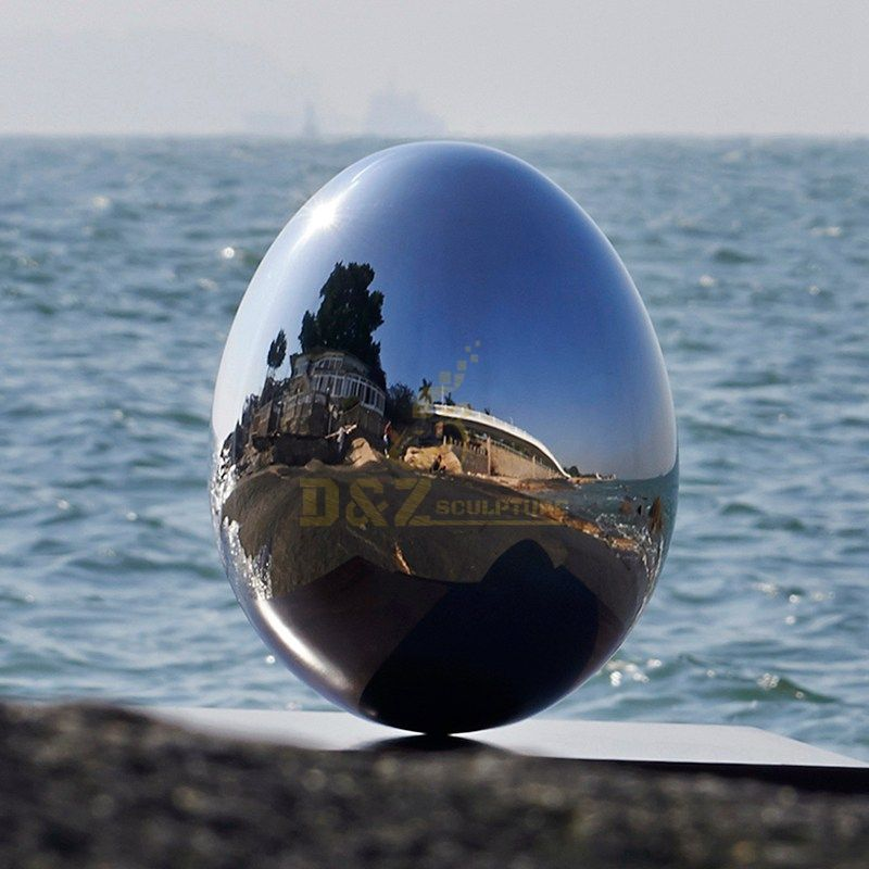 Stainless steel mirror smooth egg sculpture