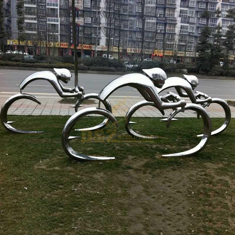 Custom stainless steel bicycle sport sculpture
