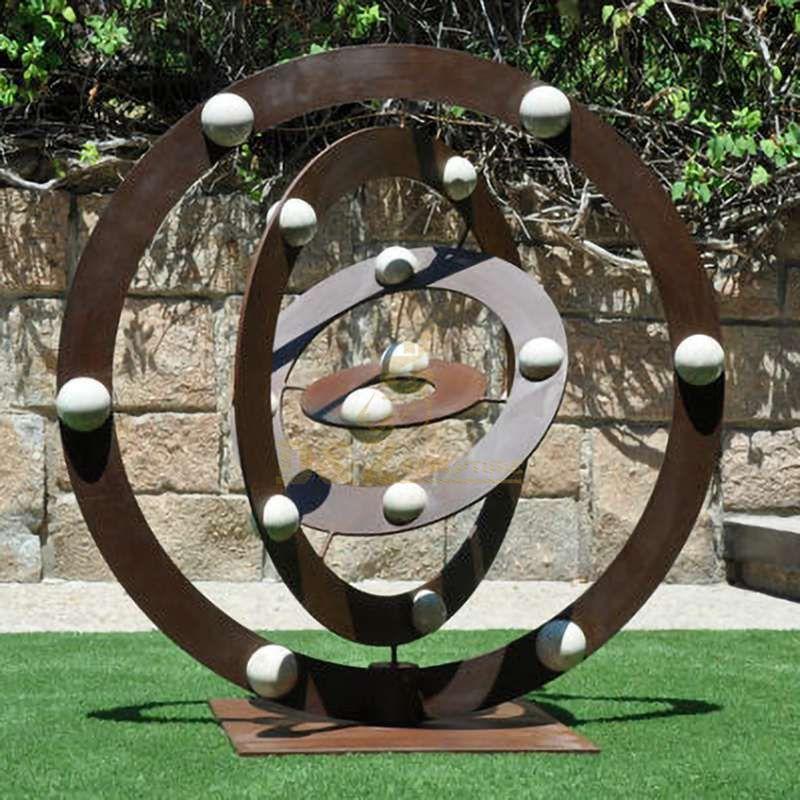 Outdoor garden decoration corten steel circle sculpture
