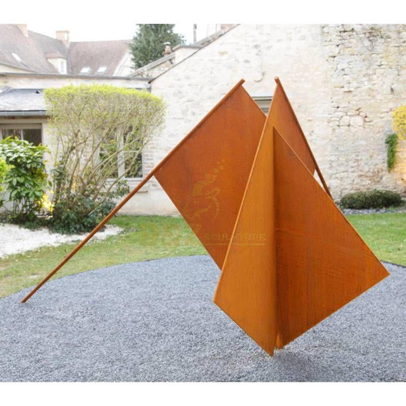 Outdoor garden corten steel flag sculpture