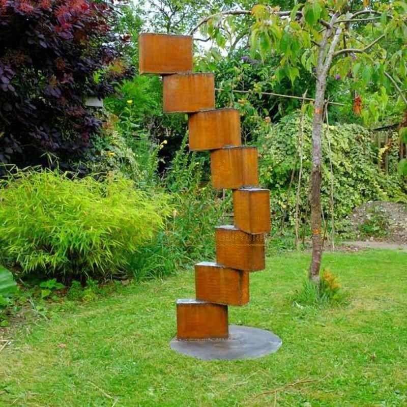 Geometry welding corten steel sculpture