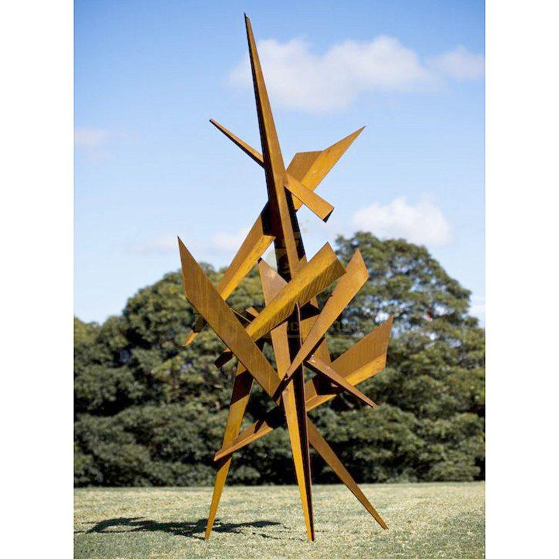 Modern corten steel garden sculpture
