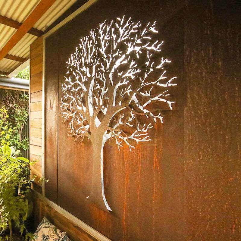 Corten steel tree screen sculpture
