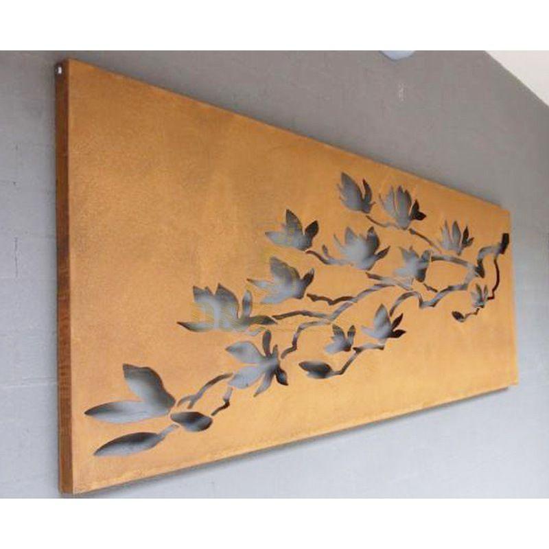Corten steel outdoor wall art leaf sculpture