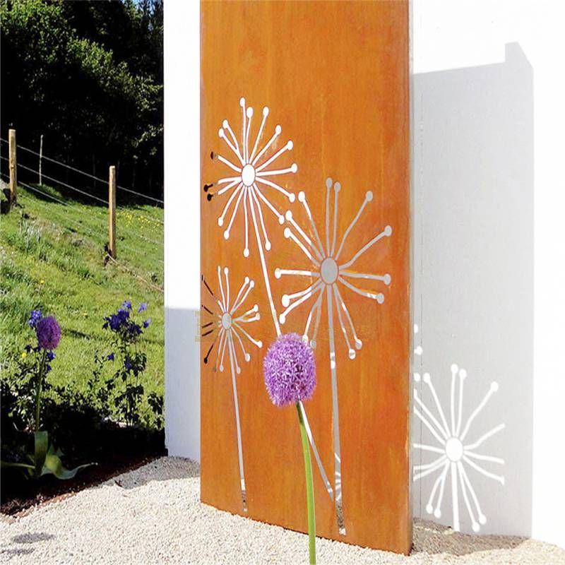 Garden decoration corten steel flower sculpture