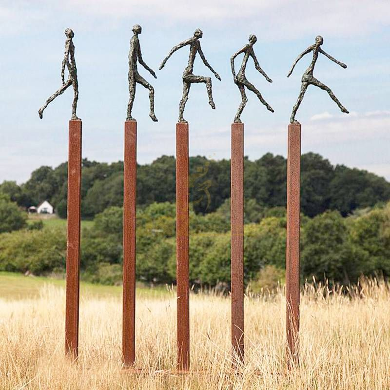 Corten steel pillar outdoor garden sculpture
