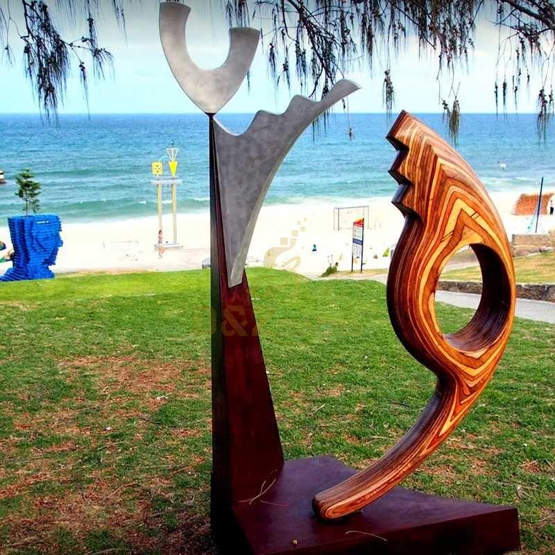 Abstract modern corten steel sculpture