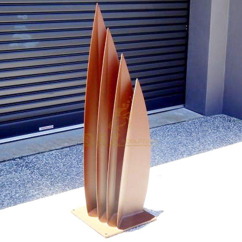 Corten steel art leaf garden sculpture