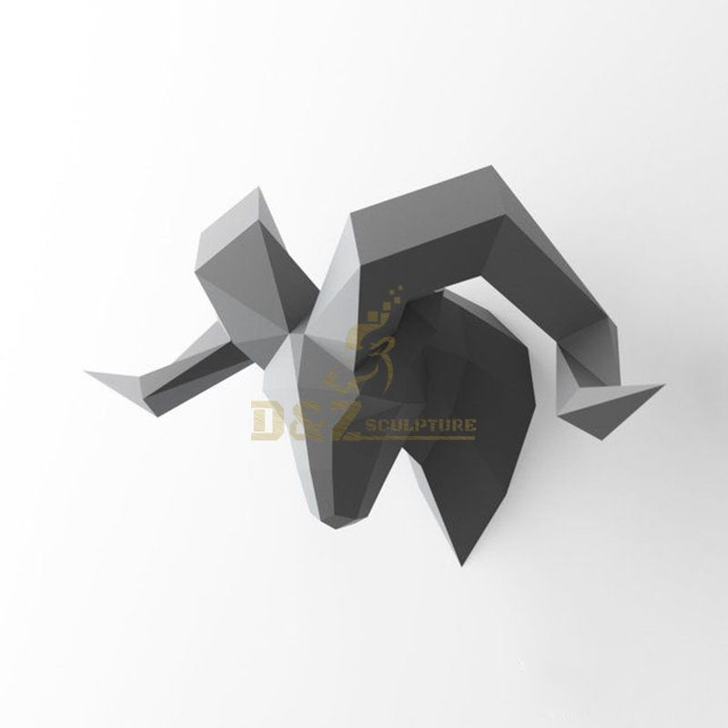 Stainless steel wall art sheep head sculpture