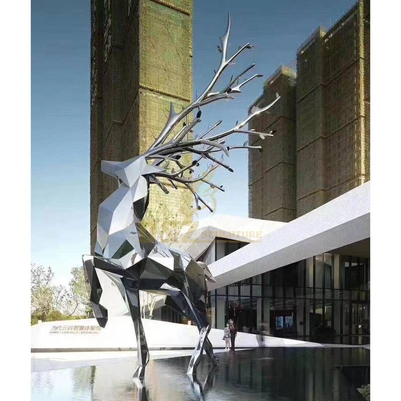 stainless steel deer statue reindeer sculpture for sale