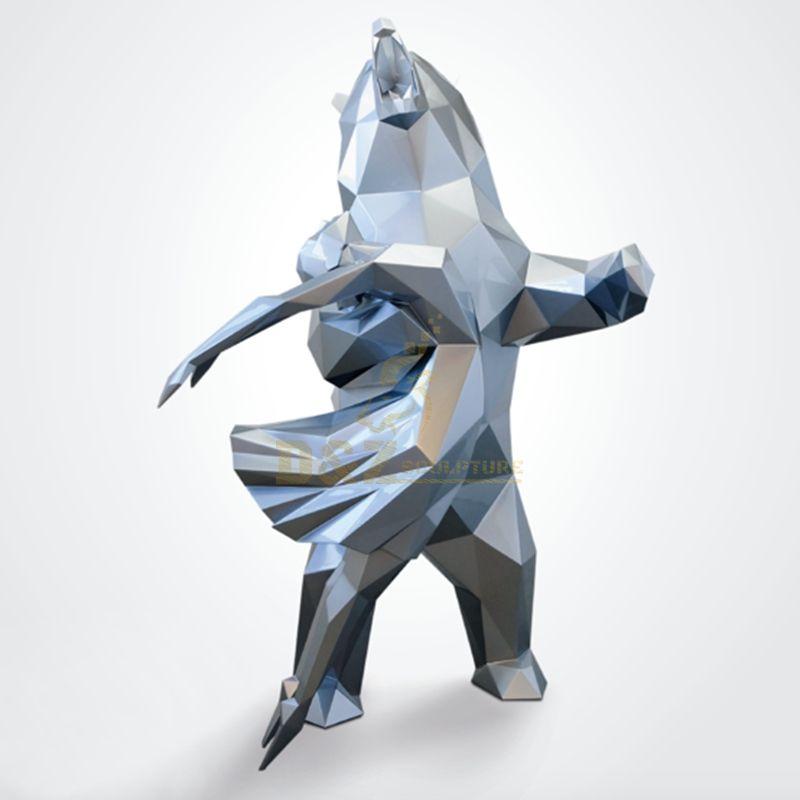 Stainless steel crane garden metal sculpture