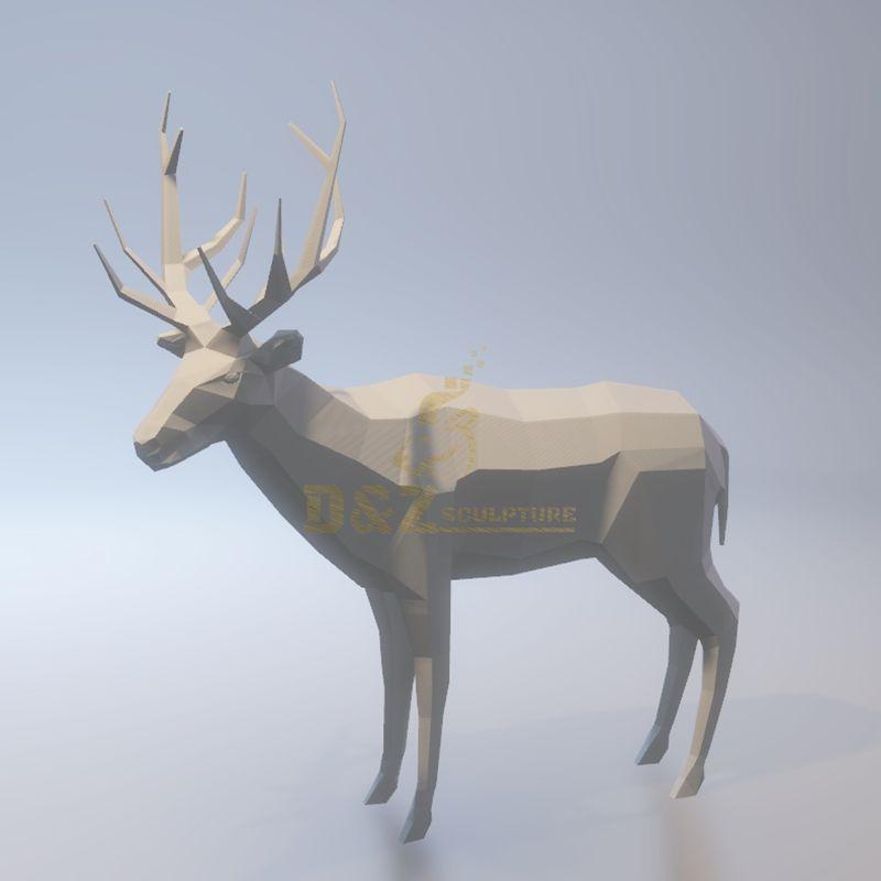 Stainless steel metal animal deer sculpture