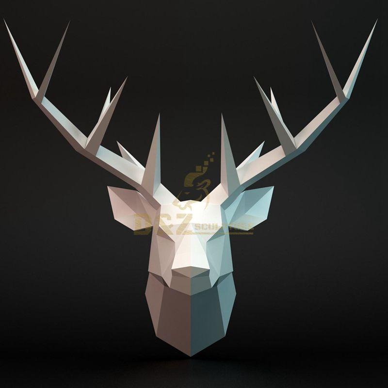Stainless steel wall art deer animal sculpture
