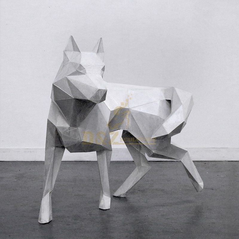 Stainless Steel White Dog Statue