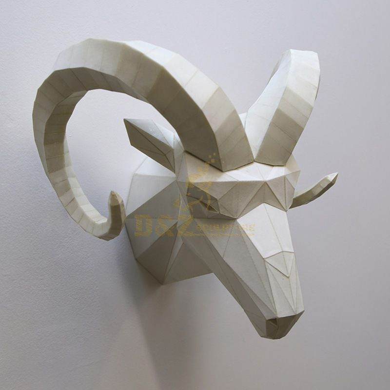 Stainless steel sheep head wall art pendant sculpture