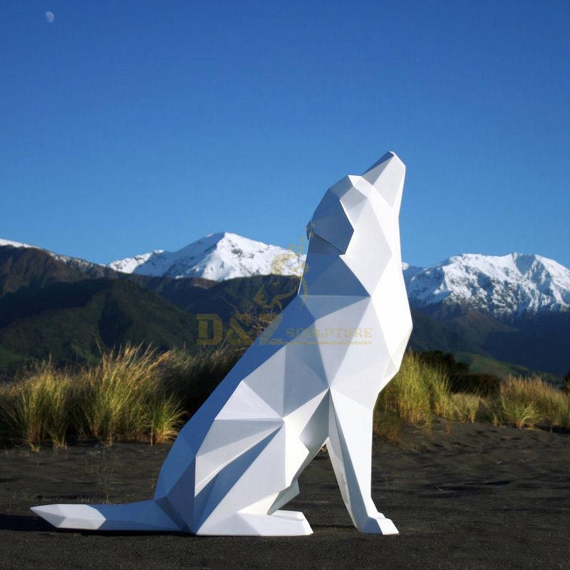 Outdoor decoration stainless steel dog sculpture