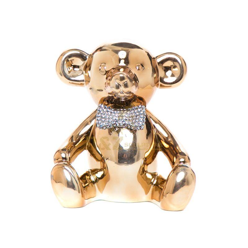 Stainless steel  gold bear sculpture