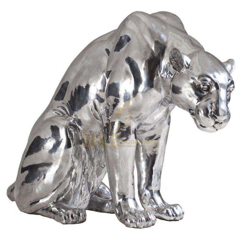 Stainless steel animal leopard sculpture