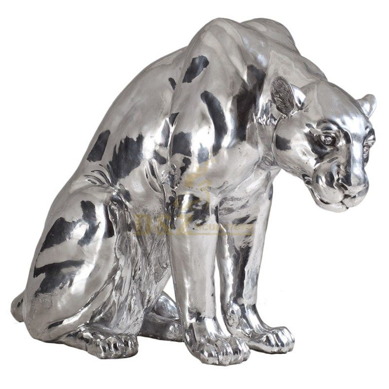 Stainless steel animal leopard sculpture