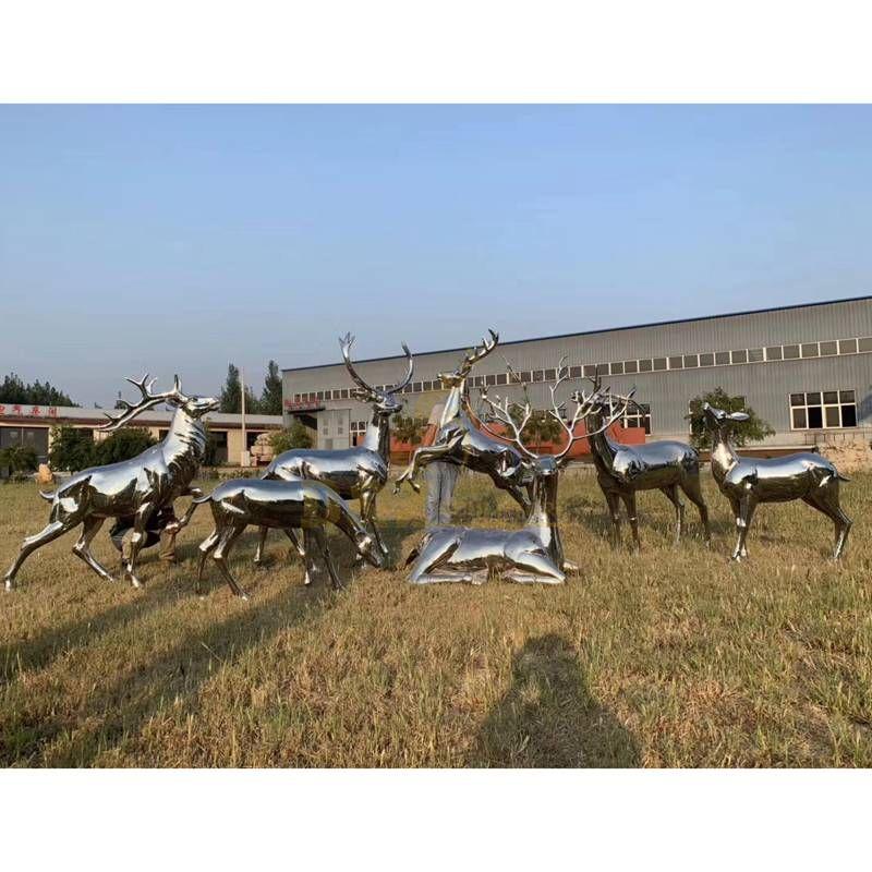 Outdoor Garden Stainless steel deer sculpture
