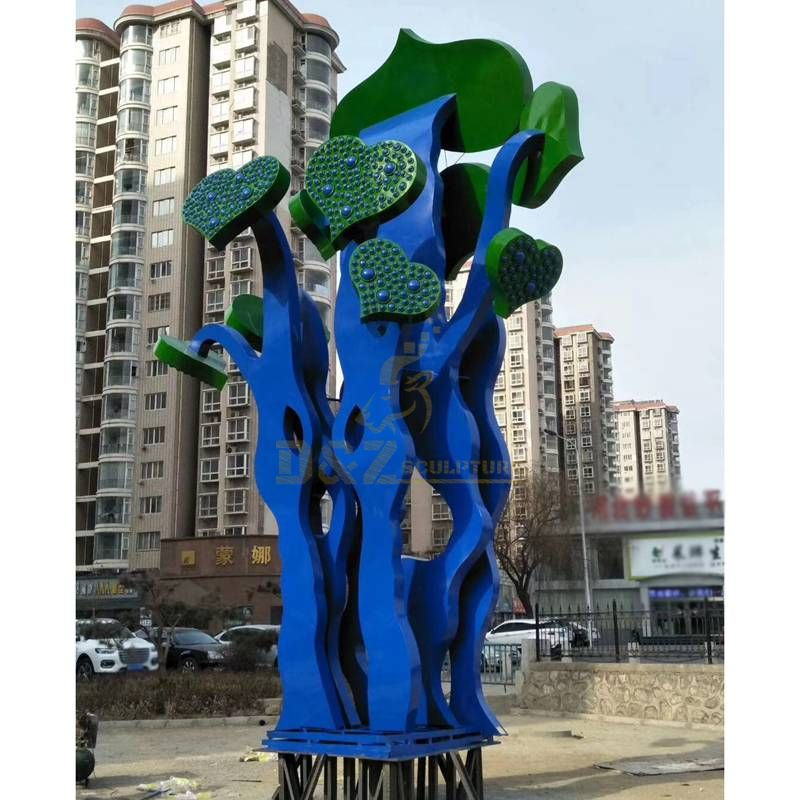 Stainless steel color plated heart tree sculpture