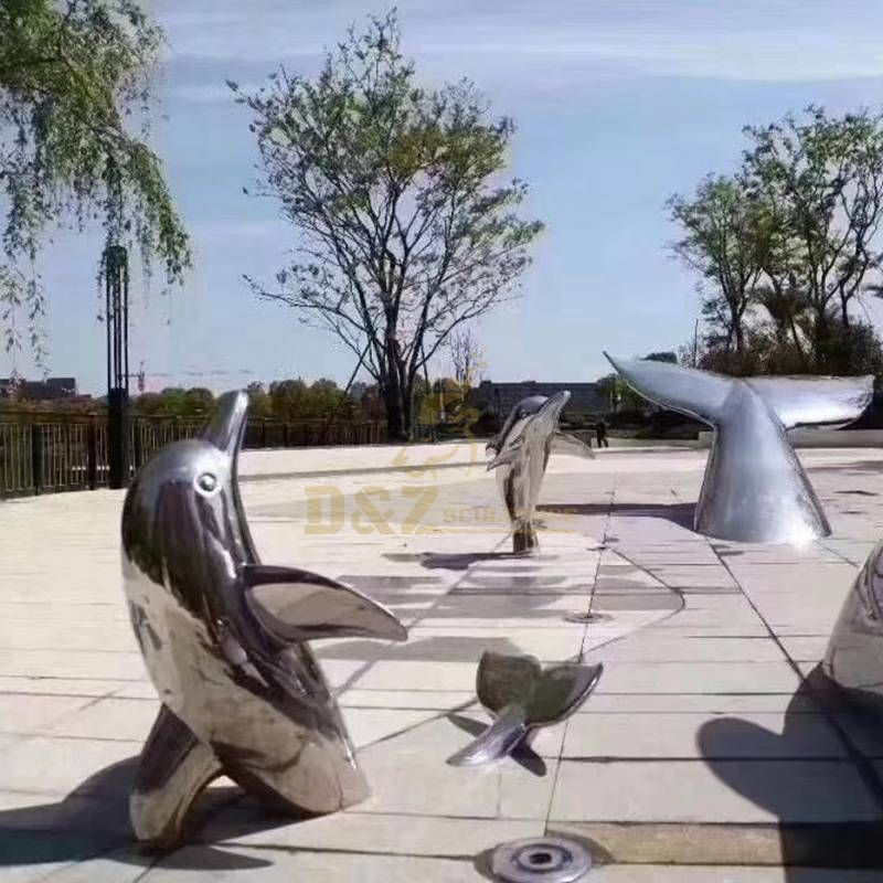 Outdoor Stainless Steel Dolphin statue for outdoor landscape
