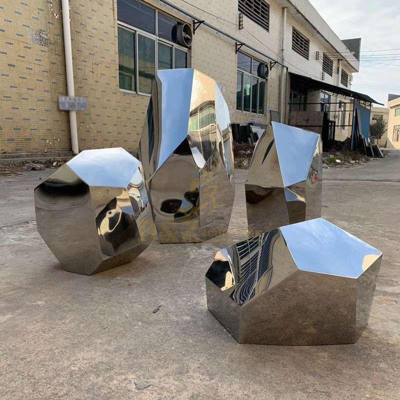 Stainless steel stone outdoor garden decorative sculpture