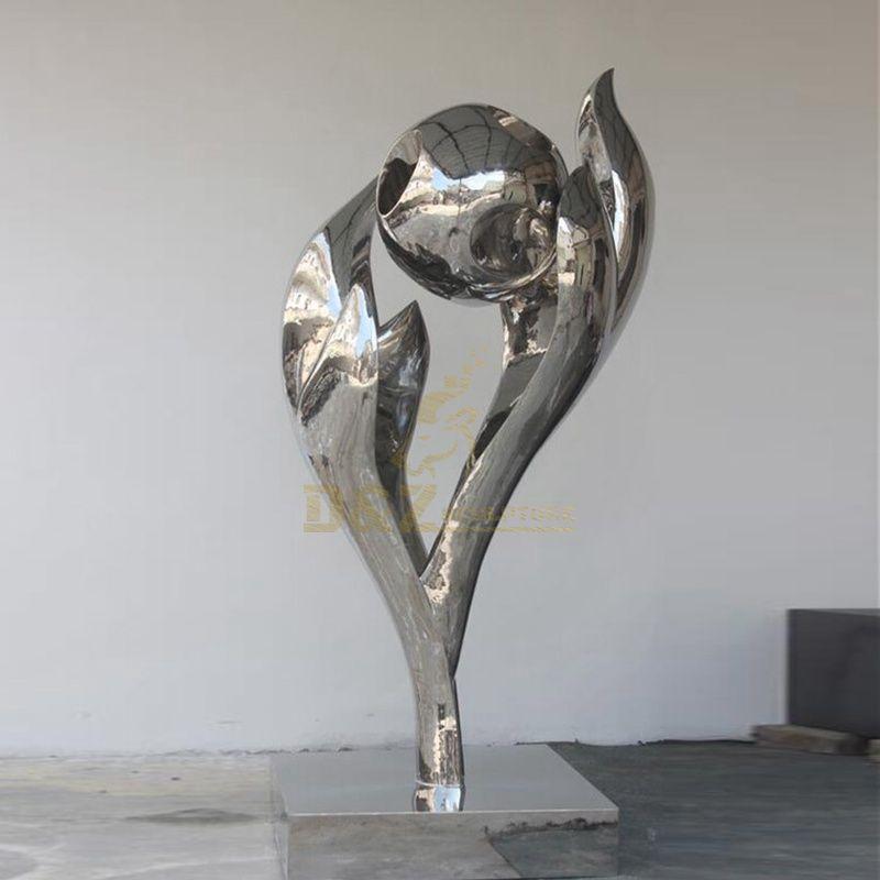 Stainless steel ball sculpture mirror flame sculpture